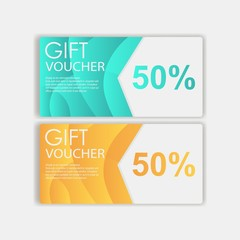 Gift voucher template. cute gift voucher certificate coupon design. Design usable for gift coupon, voucher, invitation, certificate, diploma, ticket . Vector illustration