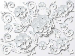 Beautiful white floral background with flowers and leaves. Vector illustration