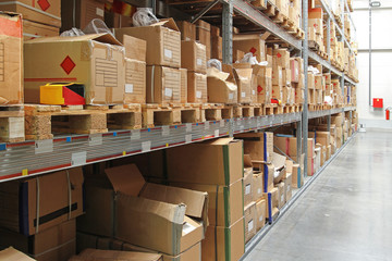 Long shelf in warehouse