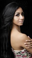 Beautiful young woman long dark hair