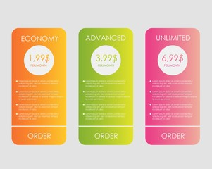 Set web tariffs banner. interface for the site. ui ux vector banner for web app. Pastel pricing table, banner, order, box
