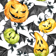 Watercolor seamless pattern, pumpkins with leafes and bat wings. Halloween holiday illustration. Funny food. Magic, symbol of horror. Baby background. Can be use in holidays design, posters