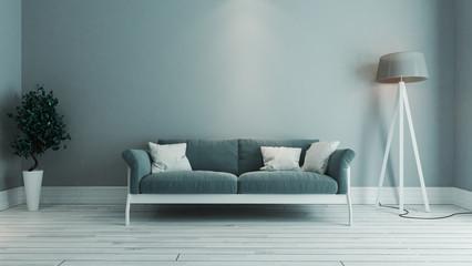 blue color living room interior design idea