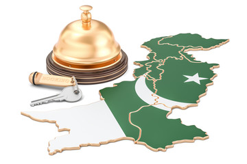 Pakistan booking concept. Pakistani flag with hotel key and reception bell, 3D rendering