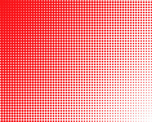 Vertical gradient red halftone dots background. Pop art template, texture illustration