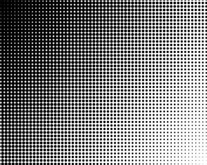 Vertical gradient black halftone dots background. Pop art template, texture illustration