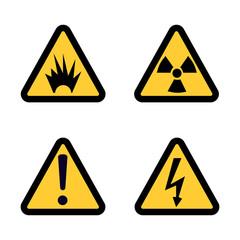 Hazard warning sign icon set on white background Flat design Vector Illustration