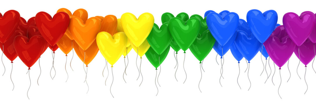 Rainbow of colorful balloons in the shape of hearts