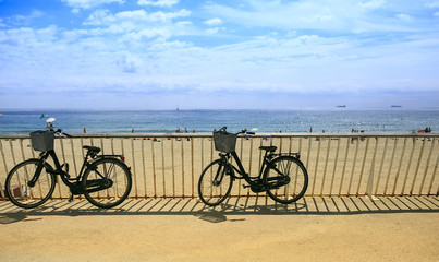 two bikes on the beach