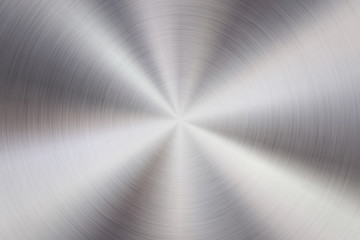 Fototapete - Metal abstract technology background with circular polished, brushed concentric texture, chrome, silver, steel, aluminum for design concepts, web, prints, wallpapers, interfaces. Vector illustration.