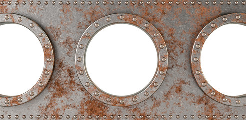 ship portholes - 3d rendering - put your own image in the portholes.