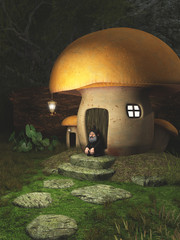 Gnome Sitting Outside a Toadstool House in the Forest - fantasy illustration