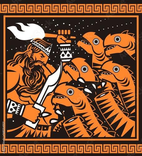 Orange And Black Painting Of Greek Mythology Hercules Cutting Hydra