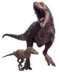A 3D rendering of Tyrannosaurus Rex a juvenile, isolated on a white background.