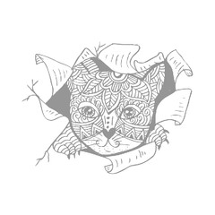 Cat head decorative stylized.