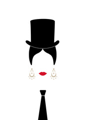 Lady with top hat and tie , Portrait of modern Latin or Spanish woman in male version, Icon isolated, Vector illustration transparent background