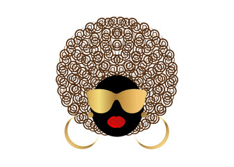 portrait African Women , dark skin female face with hair afro and gold glasses on isolated background
