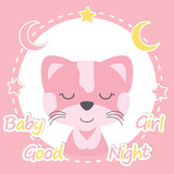 Vector cartoon illustration with cute baby bear girl on love frame baby shower vector cartoon illustration of cute cat girl on pink frame suitable for baby shower stopboris Image collections