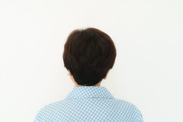 Rear Head of Asian Old Woman on white background