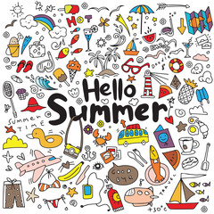 Hand drawn vector illustration set of summer elements.Hand drawi