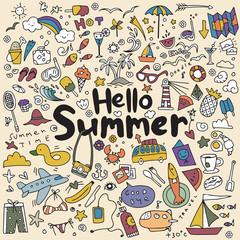 Hand drawn vector illustration set of summer elements.Hand drawi