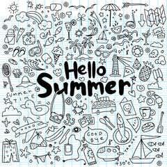 Hand drawn vector illustration set of summer elements.Hand drawing Doodle