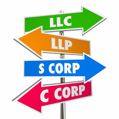 LLC LLP S C Corp New Business Signs Choices 3d Illustration