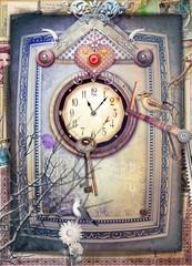 Foto op Aluminium Imagination Wonderland scenery with gothic inside,clock,heart and key