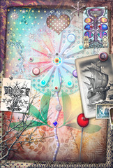 Psychedelic background with alchemical and mystic flowers and ethnic draws