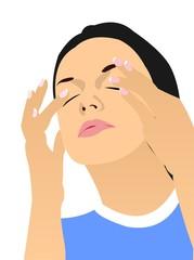 Girl Massaging Eyes