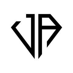 initial letters logo ja black monogram diamond pentagon shape