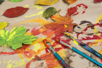 painted autumn leaves