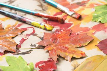 painted autumn leaves