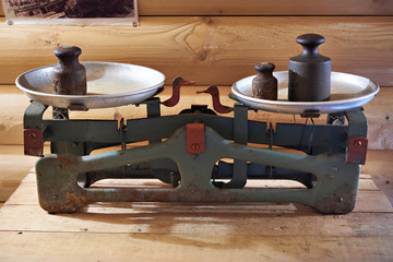 Old trading scales with weights