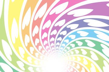 バックグラウンド素材,渦巻,スパイラル,螺旋状,ハートの模様,希望,幸福,光,虹色,輝き,かわいい,