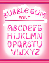 Font set with full alphabet. Glossy pink paint letters. Bubble font with glint. Typography vector illustration.