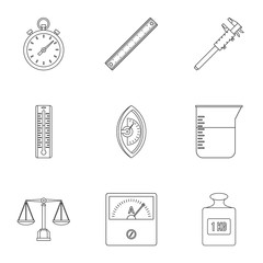 Dimension icon set, outline style