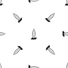Surf board pattern seamless black