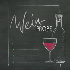 Weinprobe Schiefertafel