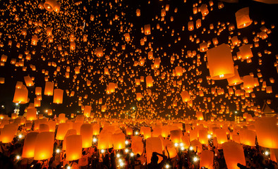 New year and Yeepeng festival in Thailand