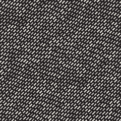Black and White Irregular Dashed Lines Pattern. Modern Abstract Vector Seamless Background. Stylish Chaotic Stripes Mosaic