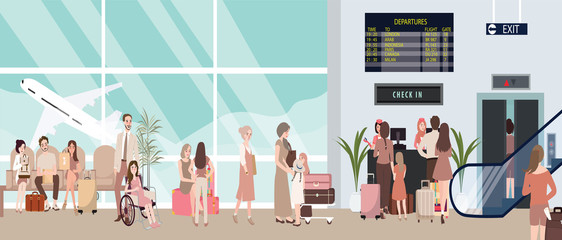 busy airport scene illustration with plane and people waiting in check-in counter man woman bring baggage for flight sitting and standing