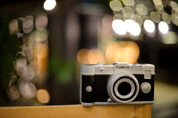 camera with bokeh background / vintage color