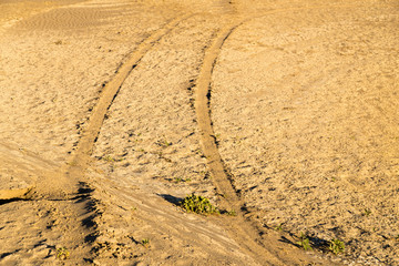 Car track on the sand in the desert