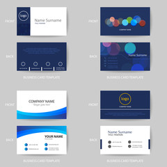 Set of Vector modern and clean blue business card design template