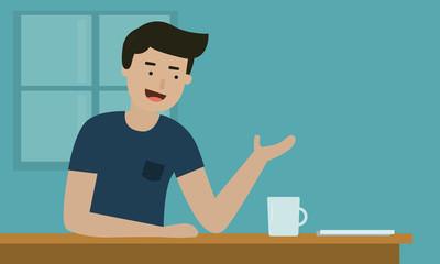 A friendly man talking on table bar in coffee shop.