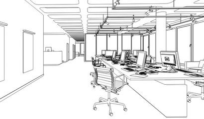 Büroeinrichtung 01 (Skizze)