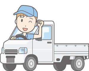 Illustrations of men riding a light car truck posing guts
