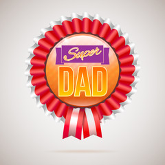 Super dad badge with ribbon on white background. Inscription Super dad over the ribbon. illustration. can use for farther day card. 3D illustration