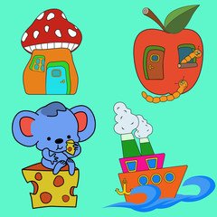 Cartoon illustration. Mouse and cheese. Fungus and apple. Boat and the sea.